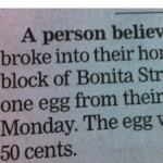 Someone broke into their house and stole………..an egg?